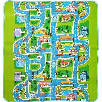 Bambino Apprendimento Tappeto Strada Traffico Citt/à Citt/à Mappa con Borsa Educativo Weddecor Non Tossico Bambini Tappetino Gioco Grande e Spessi Design-1