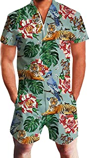 Mens Printed One Piece Short Sleeve Zipper Rompers Summer Short Jumpsuit Overall Pants w/Pocket