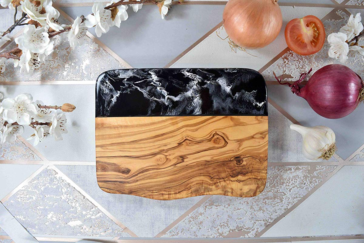 Rustic Cheese Board Olive Wood With Resin Art 21cm