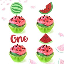 Glitter Watermelon Cupcake Toppers One in a Melon Party Decortions Cake Topper for Summer Fruit Themed 1st Birthday Party Baby Shower Melon Theme Wedding (Set of 24)