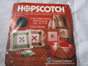 Hopscotch Cross Stitch Fabric, Green and Off White Aida Cloth