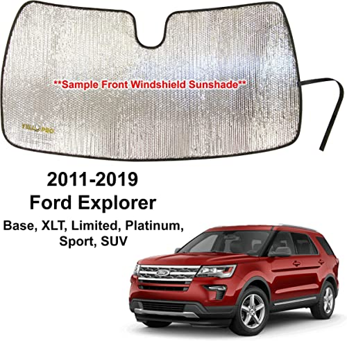 YelloPro Custom Fit Automotive Reflective Front Windshield Sunshade Accessories UV Reflector for 2011 2012 2013 2014 2015 2016 2017 2018 2019 Ford Explorer, Base XLT Limited Platinum Sport SUV