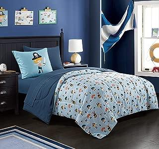 EVOLIVE Digital Printed Soft Microfiber Kids, Teen, Children Bed in a Bag Comforter Set Including Printed Sheet Set (Pirate Kids, Twin)