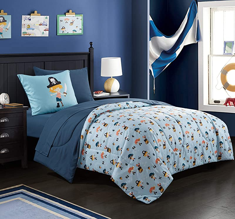 EVOLIVE Digital Printed Soft Microfiber Kids Teen Children Bed In A Bag Comforter Set Including Printed Sheet Set Pirate Kids Twin