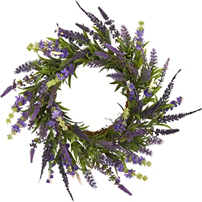 """Nearly Natural 18"""" Lavender Wreath, Purple"""