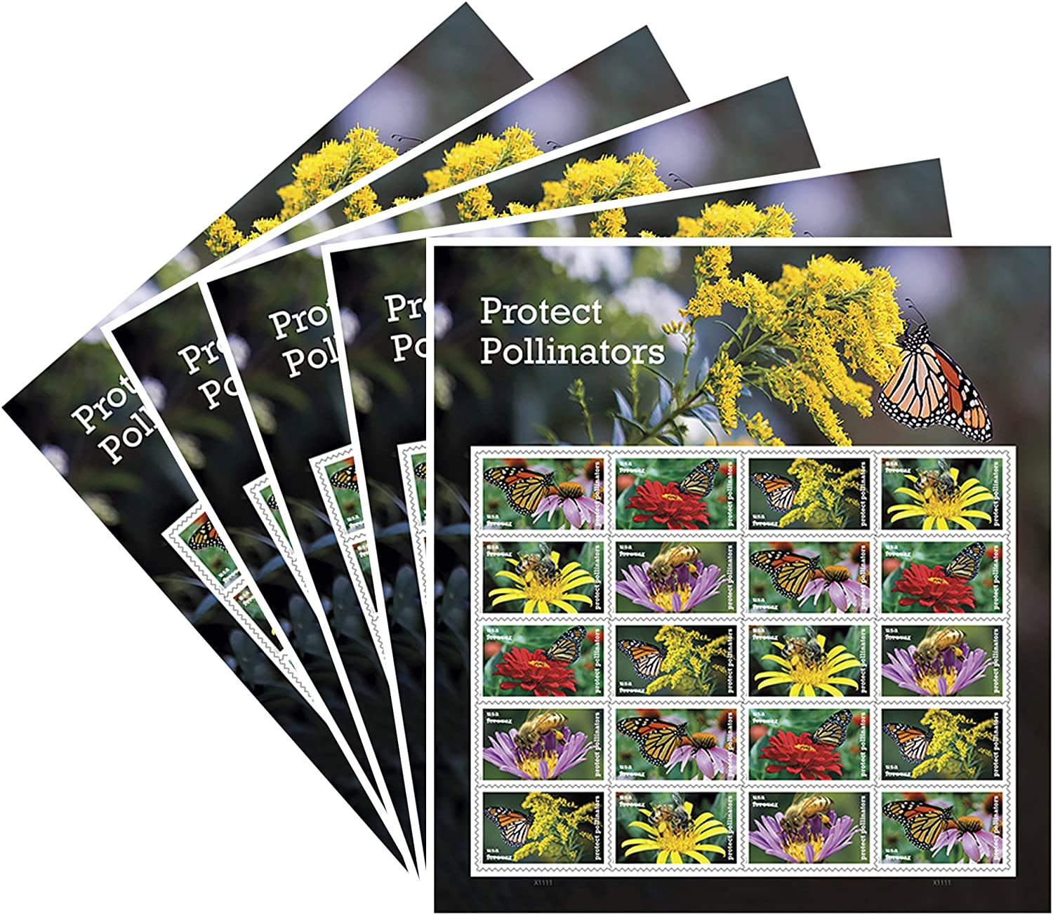 Predect Pollinators 5 Sheets of 20 Forever USPS First Class one Ounce Postage Stamps Environment Wedding Party