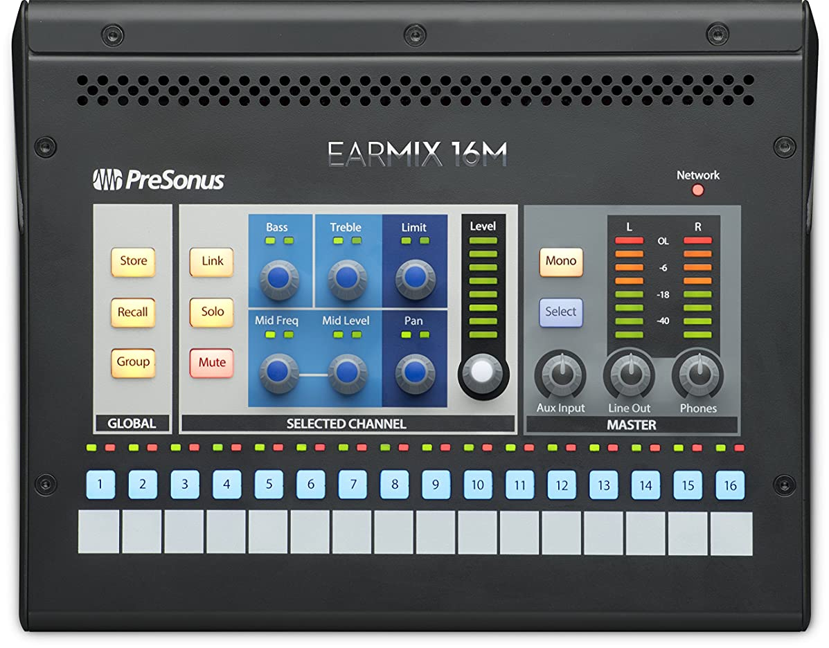 PreSonus EarMix 16M 16x2 AVB-Networked Personal Monitor Mixer