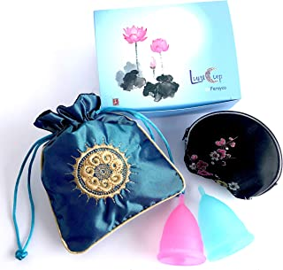 Luna Cup by Ferayco Menstrual Cup, 1 Small & 1 Large Period Cup with 1 Pouch 1 Zipper Case(S & L Gift Box Set)