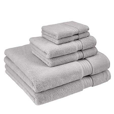 Luxury Premium Turkish Cotton 6-Piece Towel Set 2 Ply Turkish Ring-Spun Cotton Yarn Makes The Luxe-Factor Eco-Friendly, Long-Stable 20//2 White