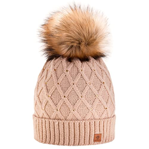 Women Girls Winter Beanie Hat Wool Knitted CRYSTAL with Large Pom Pom Cap  SKI Snowboard Hats 7267663c4795