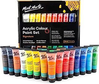 Mont Marte Set di Colori Acrilici Premium - 18 pezzi tubi da 36ml - Ideale per Pittura Acrilica - Colori brillanti e resis...