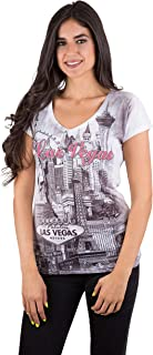 Womens Las Vegas Strip Collage Gray V Neck Graphic Printed T Shirt