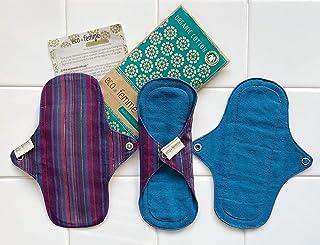 軽い日用3枚セット 南インド「Eco Femme」布ナプキン 洗えるオーガニックコットン(肌面色付き)防水あり・内側に3層のフランネル使用