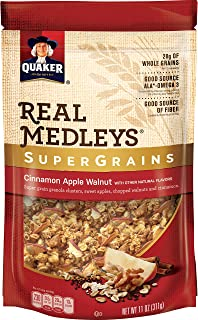 Quaker Real Medleys Super Grains Granola, Cinnamon Apple, 6 Count (11 oz Pouches)