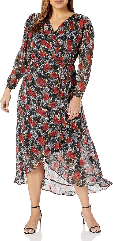 City Chic Women's Apparel Women's Plus Size Flroal Floaty Hi-lo Dress with Wrap Tie Detail