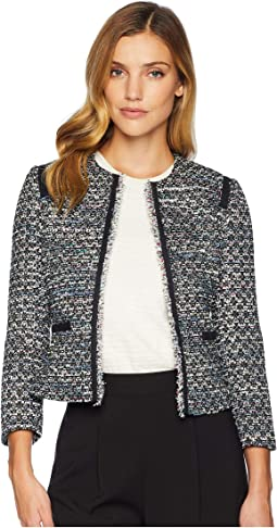 Round Neck Open Boucle Jacket with Contrast Shoulder and Pocket Trim