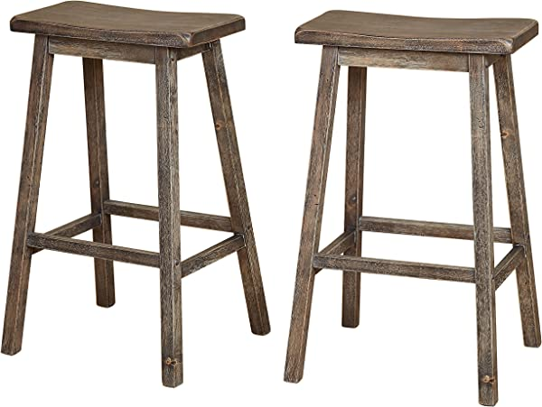 The Mezzanine Shoppe 44330GRY PR Marney Mid Century 2 Piece Counter Height Kitchen Saddle Stool 30 Inches Gray