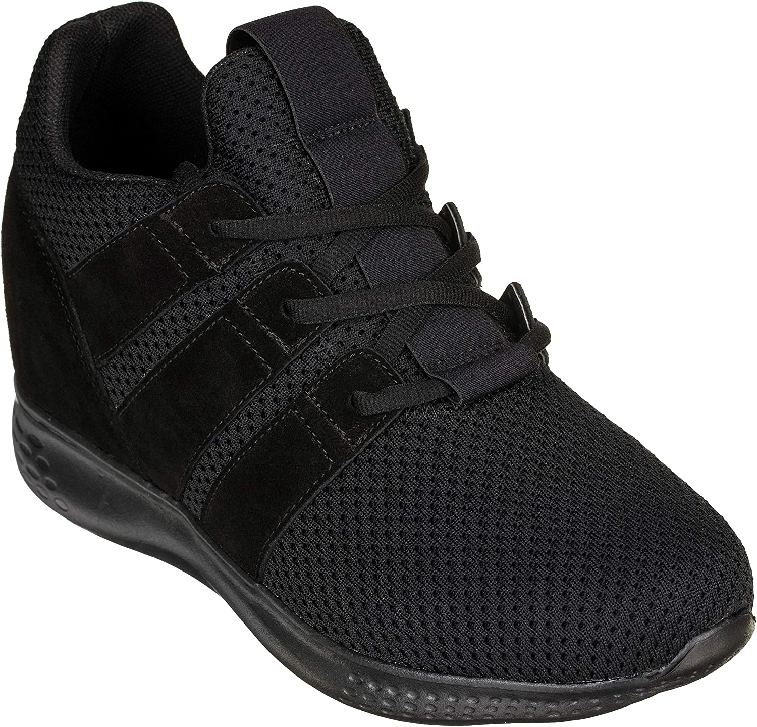 CALTO Men's Invisible Height Increasing Elevator shoes - Mesh Suede Super Lightweight Lace-up Sporty Trainer Sneakers - 3 Inches Taller