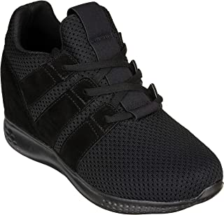 Men's Invisible Height Increasing Elevator Shoes - Black Mesh Super Lightweight Lace-up Sporty Trainer Sneakers - 3 Inches Taller