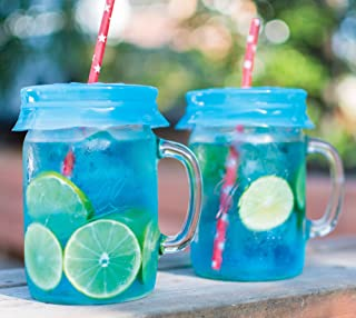 Blossom Mason and Canning Jar Sipping and Drinking Lid Caps, Silicone, For Wide Mouth Size Mason Jars, 4-Inches; Blue; Set...