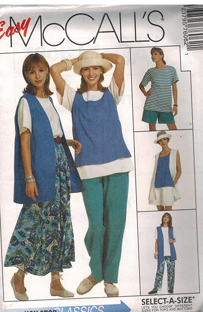 7606 McCalls Sewing Pattern UNCUT Misses Vest Tank Top Top Pull on Pants Skirt Shorts Size 10 12 14