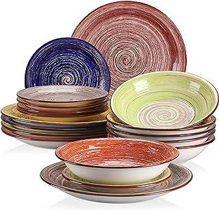 vancasso, Série Albero, Service de Table en Céramique, Vaisselle Complet 18 Pièces pour 6 Personnes, Assiette Bols, Motif ...
