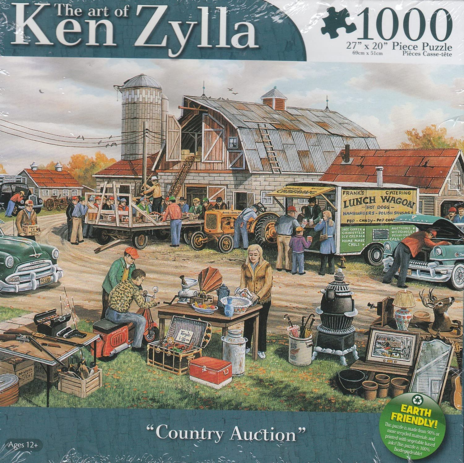 The Art of Ken Zylla Country Auction 1000 Piece Puzzle 27 x 20