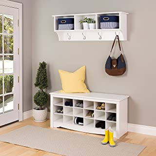 Prepac Hanging Entryway Shelf with Shoe Cubby Bench - White