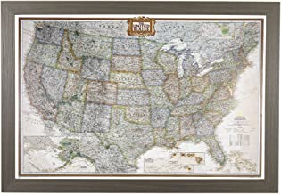 Push Pin Travel Maps Executive US with Barnwood Gray Frame and Pins - 27.5 inches x 39.5 inches