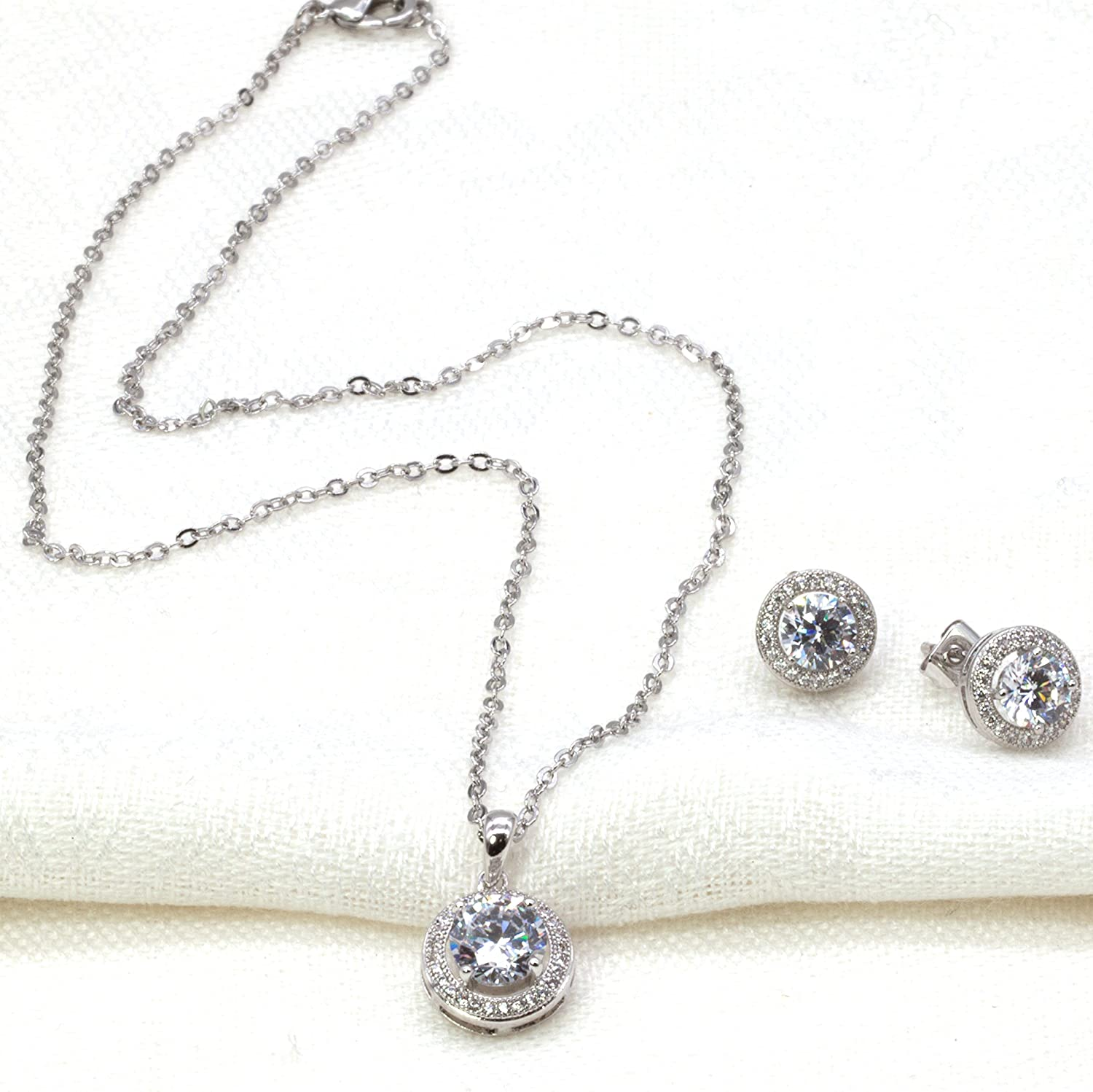 Round Classic Jewelry Set Necklace & Earrings AAA Cubic Zirconia For Women Wedding Party