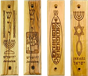 4 Olive Wood Mezuzahs with Scrolls, Bulk Variety Assortment #4, Made in Israel, Religious Home Décor for Door & Wall, Includes Parchment Prayer Scroll, Jewish & Messianic Holy Land House Wall Art