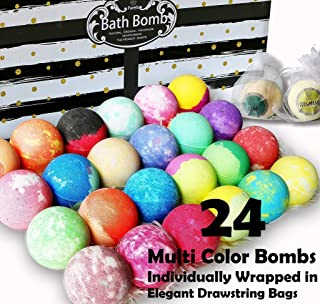 Aromatherapy Bath Bomb Gift Set.24 Individually Wrapped Bath Bombs Gift Sets. Lush Bath Bombs Set Ready To Gift! 24 Large Bath Balls Fizzers Bath Bombs for Women, Men and Kids! (Party Favor Bags)