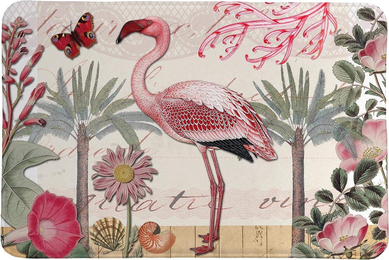 Laural Home Botanical Flamingo Memory Max 69% OFF Nashville-Davidson Mall Foam Rug Pink