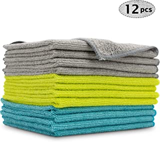 AIDEA Microfiber Cleaning Cloths Softer Highly Absorbent (Pack-12), Lint Free Streak Free for Tackling Any Cleaning Job with Ease for House, Kitchen, Car, Window