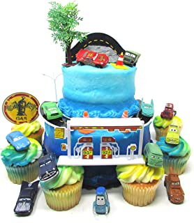CARS Radiator Springs City Scape 20 Piece Birthday CUPCAkE Topper Set Featuring 12 Random Cars Figures and Radiator Springs Decorative Themed Accessories, Cars Average 1/2