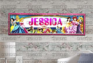 KATONAH Customized Name Painting Disney Princess #1 Poster with Your Name On It Personalized Banner with Hard Frame