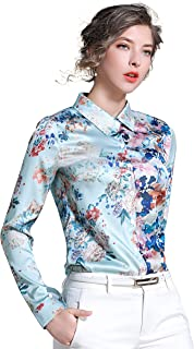 Women's Shirts Floral Print Long Sleeve Button up Casual Blouse Top