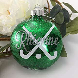 Field Hockey Sticks Glitter Filled Monogram Ornament Personalized with Your Name and Your Colors