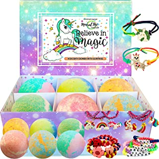 Unicorn Bath Bombs for Girls with Jewelry Inside Plus Jewelry Box for Kids. - All Natural and Organic with Skin moisturizi...