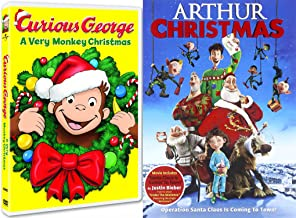 Curious George DVD & Arthur Christmas Operation Santa Clause Holiday Movie Set
