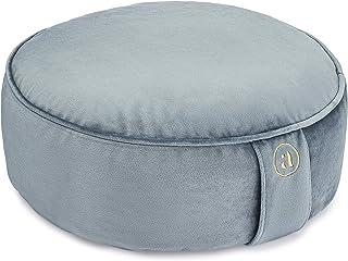Buckwheat Meditation Cushion Round Zafu Yoga Pillow - Zafu Meditation Cushion Velvet with Zippered Organic Cotton Liner to...