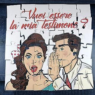 Vuoi essere la mia testimone? Puzzle per testimone femmina dello sposo per nozze, matrimonio, personalizzato, disegno a sc...