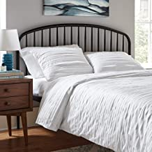 Amazon Brand – Rivet Raw-Edge Cotton Duvet Cover Bedding Set, Soft and Easy Care, King, White
