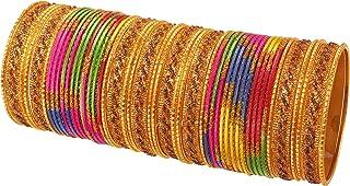 مجموعة اساور هندية جديدة ملونة مرصعة بالترتر بتصميم جميل حلقي من تاتش ستون مجموعة من 48 سوار للنساء بلون ذهبي عتيق