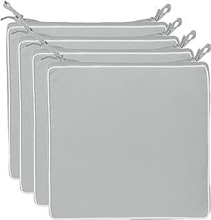 Brandsseller - Cojín para asiento exterior decorativo,repele la suciedad y el agua, relleno de 220 g, tamaño 40 x 40 x 4 cm, Tela, gris claro, 4er-Vorteilspack