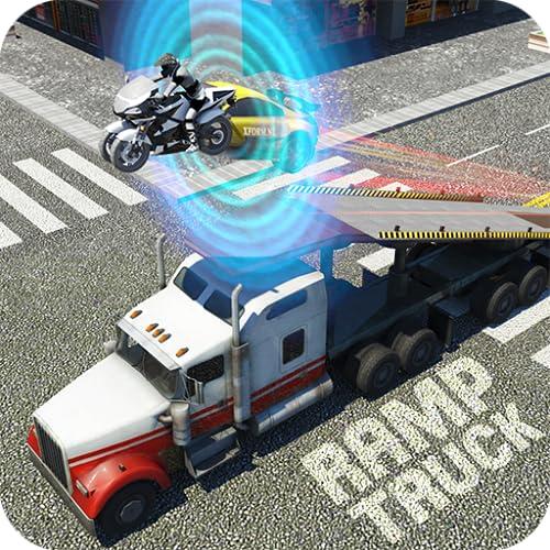 Roboter Verwandeln Muskel Auto Rennen auf Mega Rampe LKW Anhänger 6x6 Lastwagen Sport Fahrräder und Auto Transformation Roboter LKW Kunststück Spiele Frei
