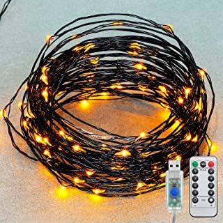 33ft Led String Lights, 100 Led Orange Starry Lights on 10M Waterproof Copper Wire with USB and 8 Modes Remote Control Time for Thanksgiving Christmas Decor
