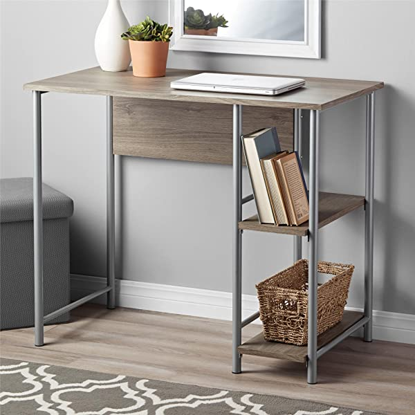 Garrett Metal Office Desk With 2 Side Shelves Rustic Oak
