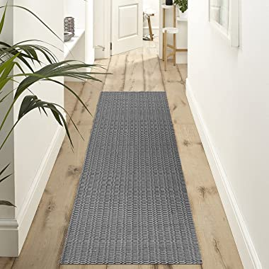 Upgraded Boho Runner Rug 2'x6', Grey Hallway Runner, Black and Grey Carpet, 100% Woven Cotton Washable Gray Indoor Ou