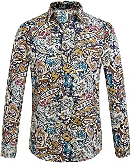Men's Paisley Cotton Printed Long Sleeve Casual Button Down Shirt